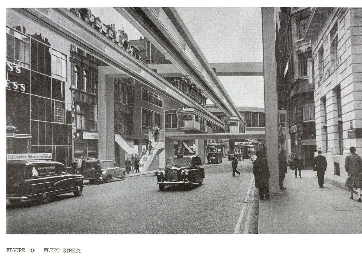 Image of Fleet Street taken from a 1967 Greater London Council report on the feasibility of introducing monorails in Central London. © London Metropolitan Archives (City of London).