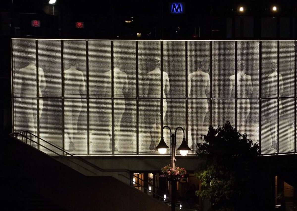 Perftec perforated metal features on photograher Eadweard Muybridge artwork in Kingston. Architects Haworth Tompkins.