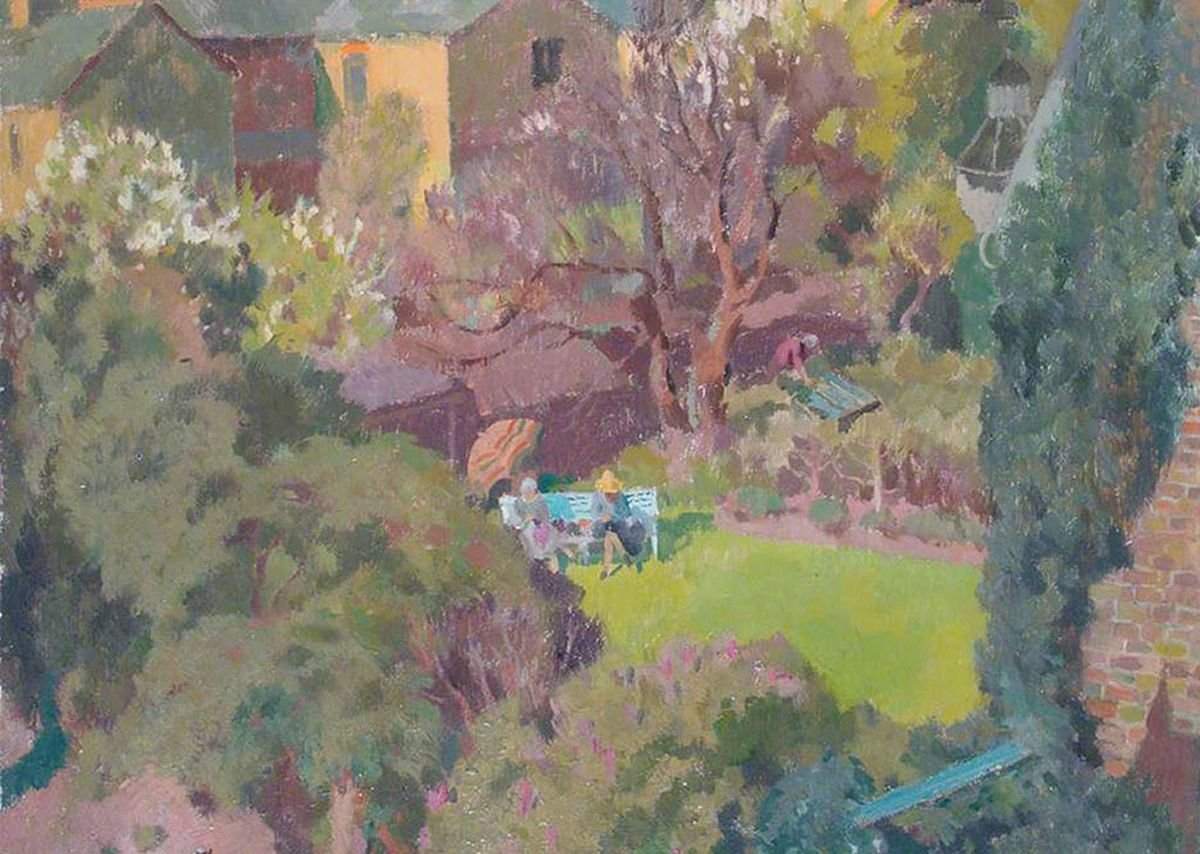 In the Garden, Henry Hoyland c.1930.  Two women overlooked from the neighbouring property.