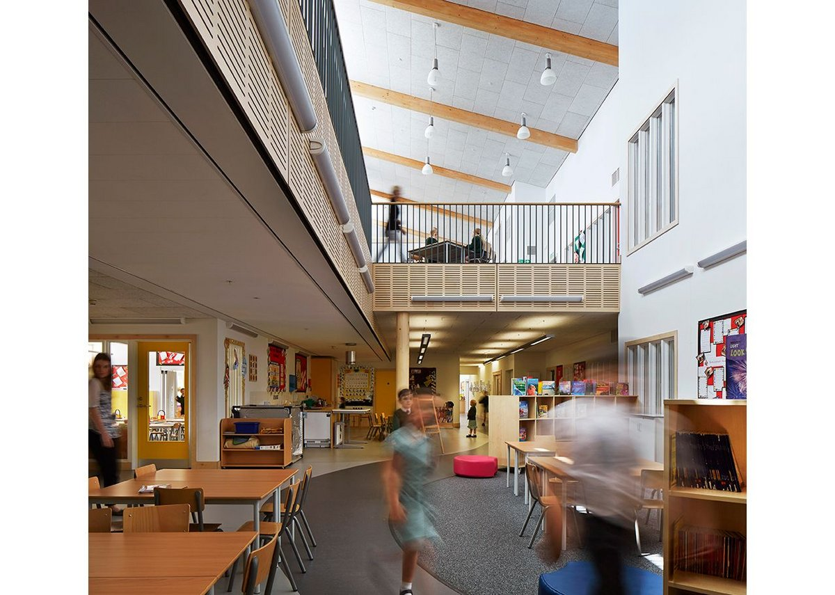 Wilkinson Primary School: The central hub works for many things including a breakout space. The space was gained by eliminating the need for enclosed corridors.