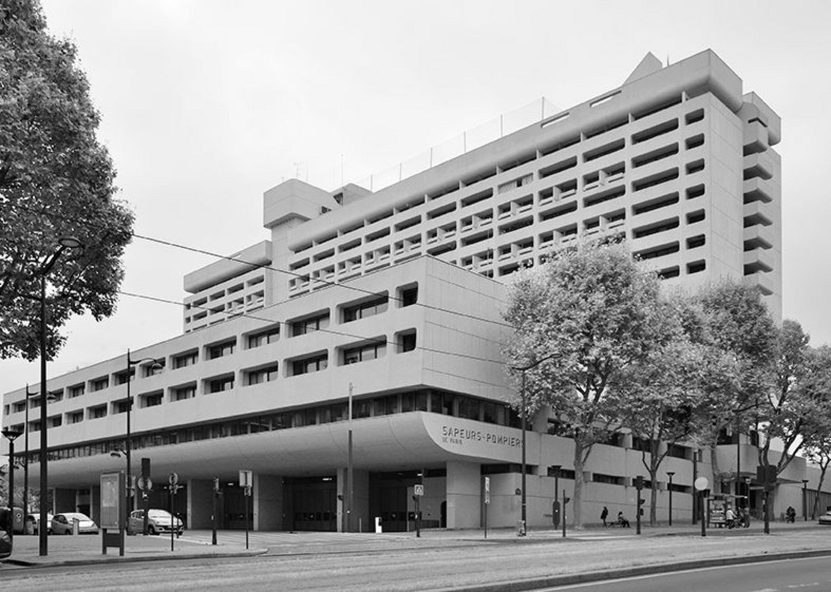 Caserne de Pompiers fire station headquarters, designed by Jean Willerval, Prvoslav Popovic, 1968-73.