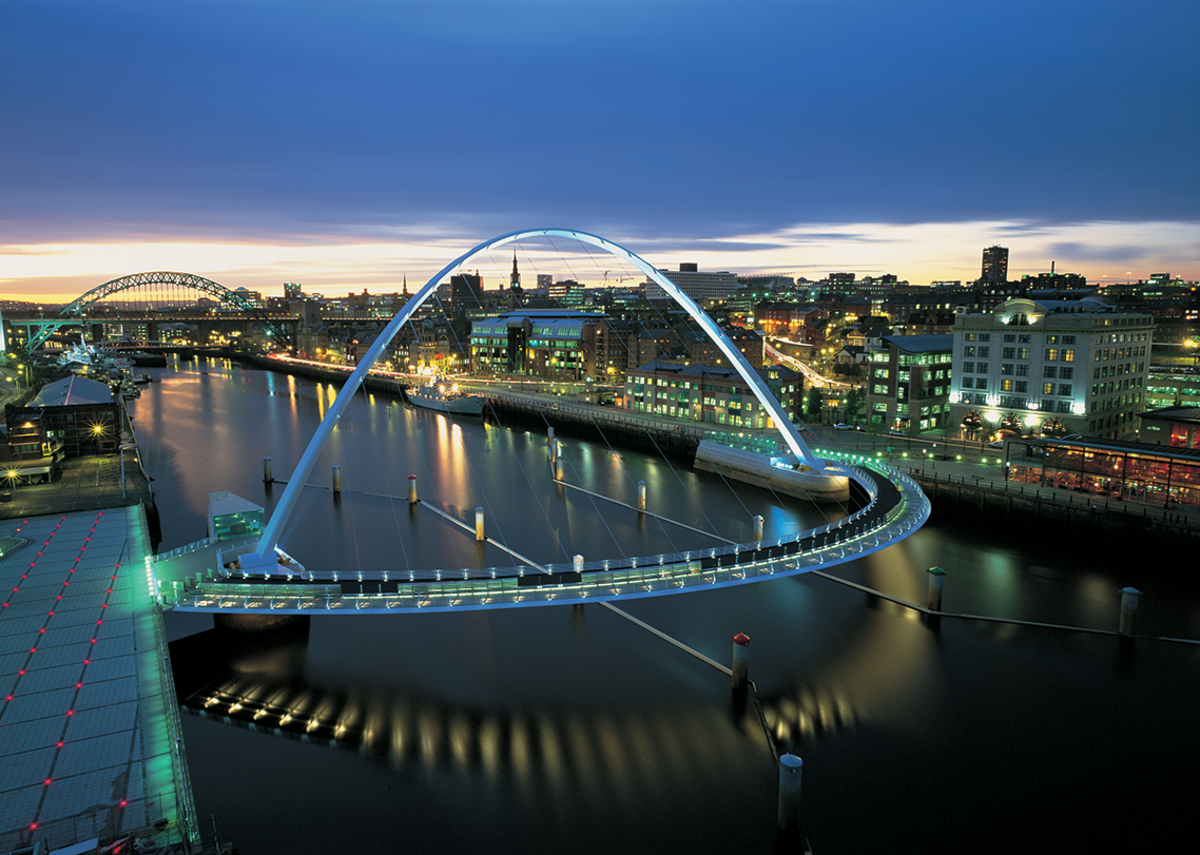 Gateshead Millennium Bridge, a crossing for pedestrians and cyclists over the Tyne. The bridge won the 2002 RIBA Stirling Prize.  Photo: © Graeme Peacock