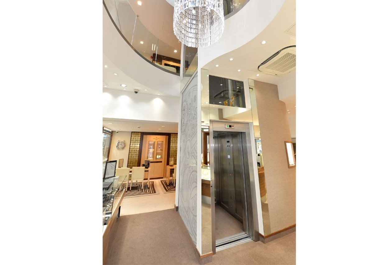 The Stannah Maxilift passenger lift at Berrys Jewellers, Nottingham.