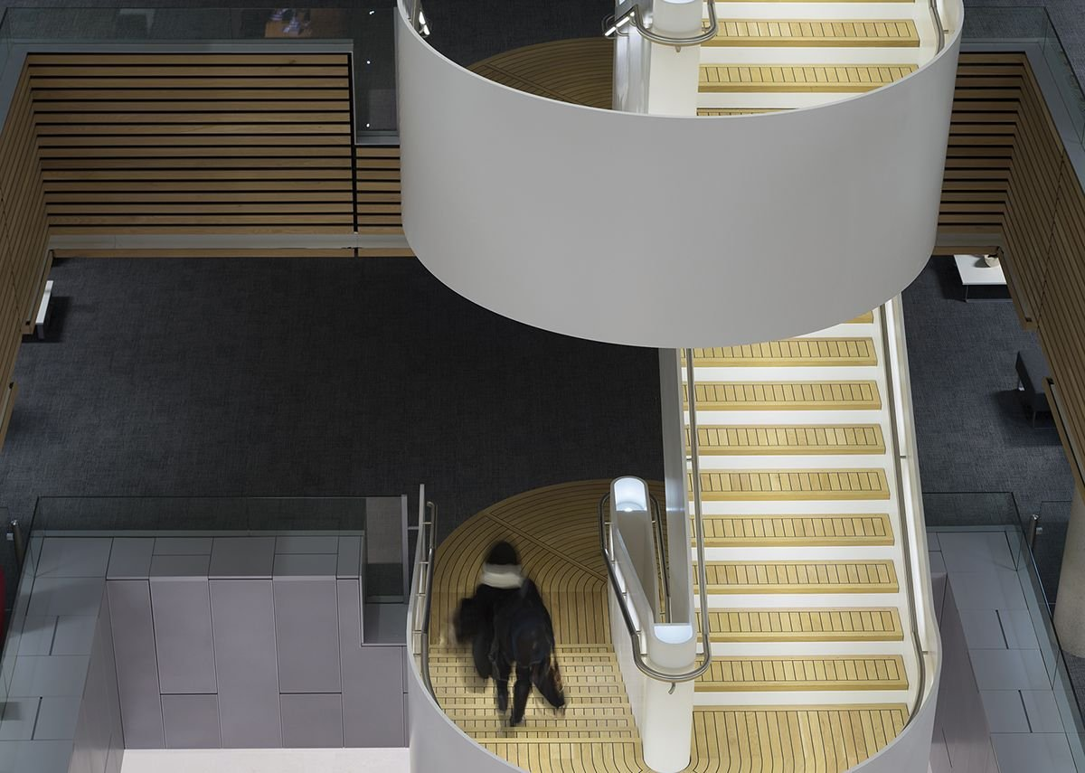 Maritime Centre of Excellence at University of Southampton, where the handrail was integrated into the structure of the spiral staircase to provide a seamless appearance.