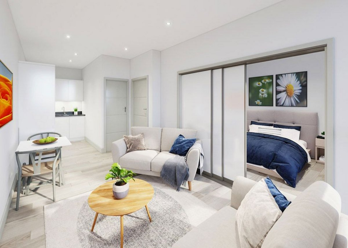 The development offers a range of one and two-bed flats. Credit: Thomas Homes