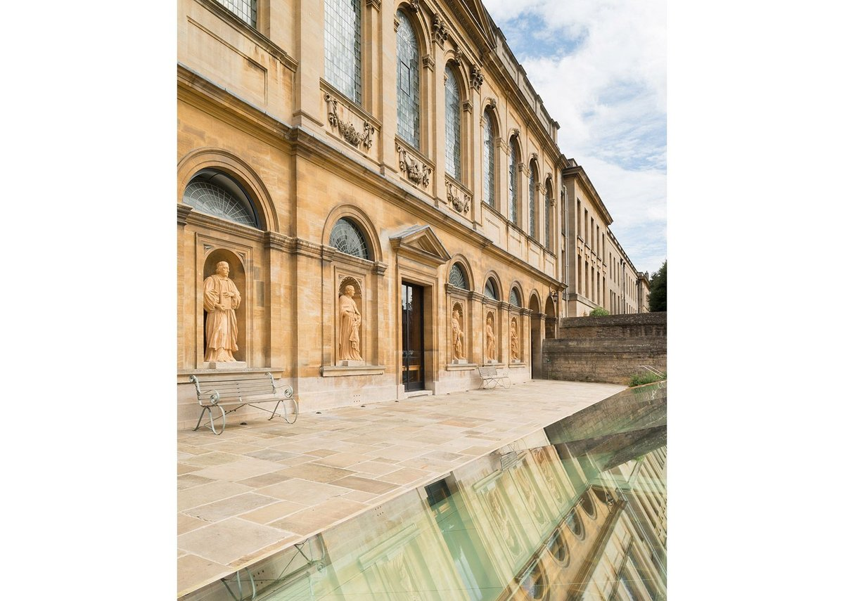 Tricky contexts anyone? Hawksmoor influence at Queen's College Oxford reflected in the new sunken library and archive beneath a quad by MICA.