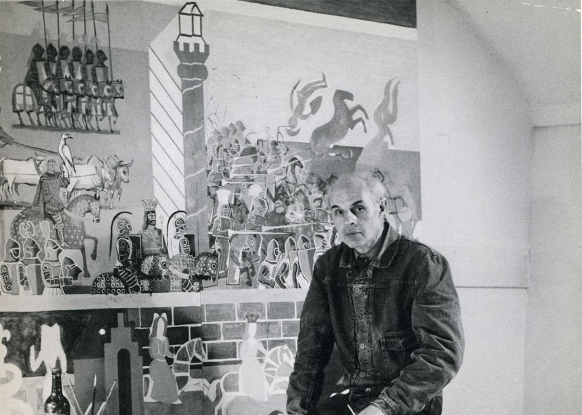 Edward Bawden with Canterbury Tales murals at Morley College