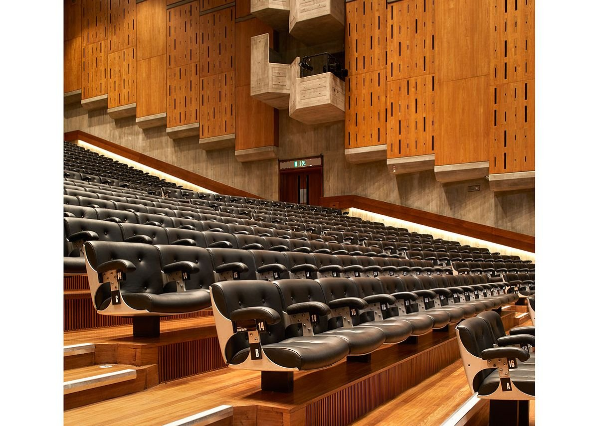 The Queen Elizabeth Hall refurbishment included new seat riser air supply grilles, reupholstered seating and French polished timber linings.