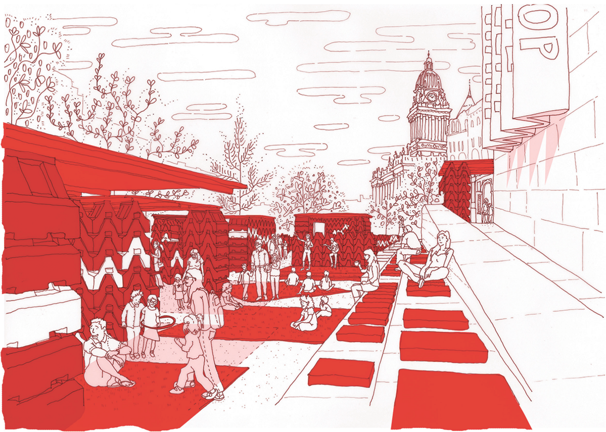 An early project, Redscape, a landscape and pavilions for the reopening of Leeds Art Gallery, using hired road barriers.