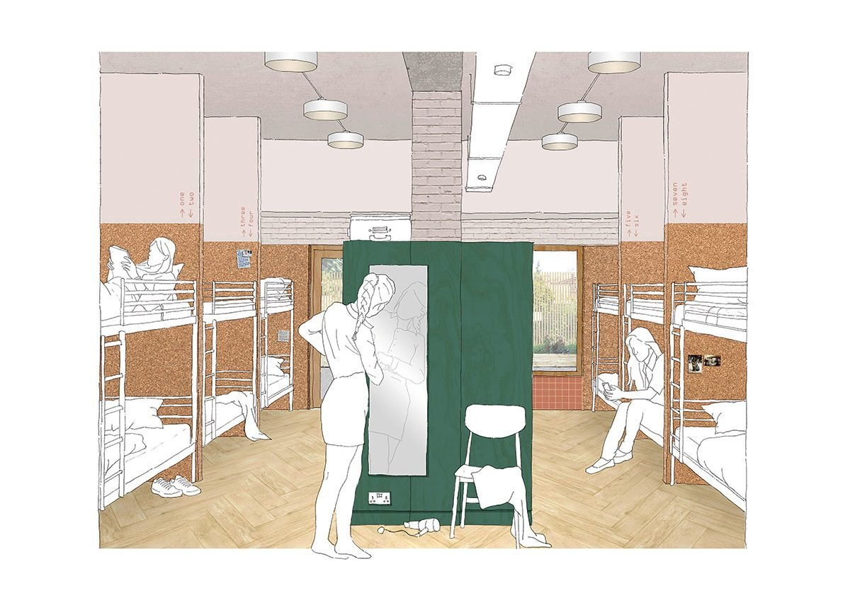 Drawing of the women's dormitory, with four-bed cubicles and individual storage.