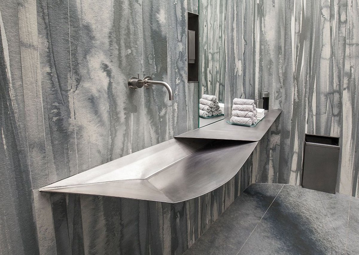 Washroom, with Neolith used on the wall and floor.