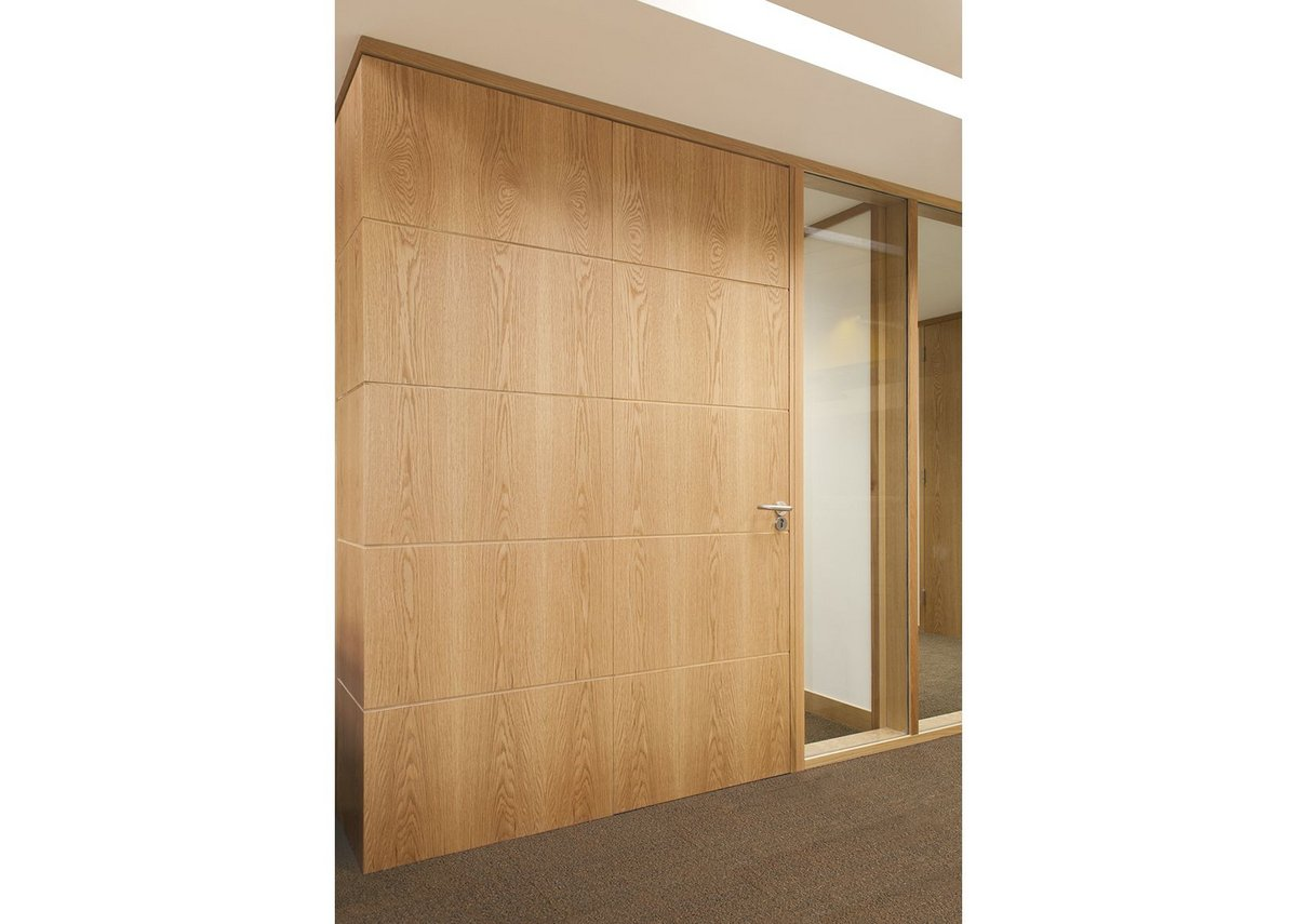 Concealed door frame and sequential veneer door and panel.