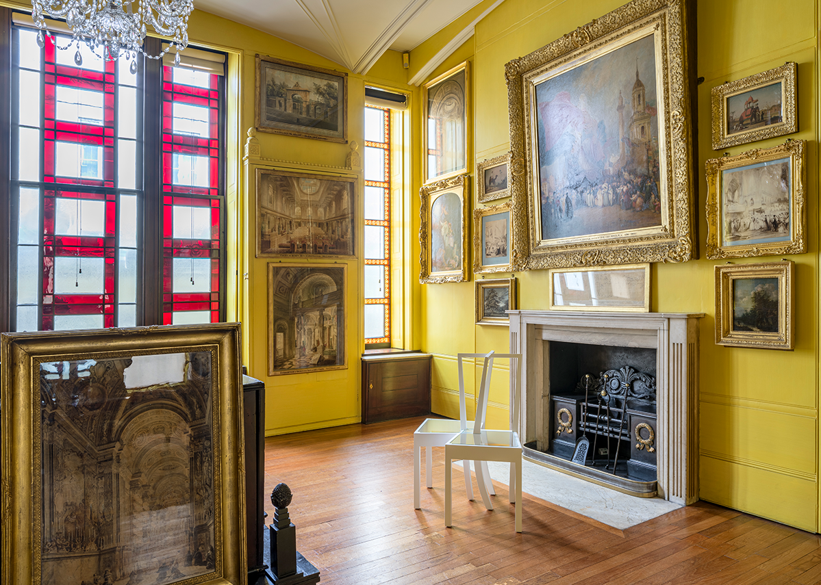 Installation view in the North Drawing Room of Interlocking Chairs, 1995 from Langlands & Bell - Degrees of Truth at Sir John Soane's Museum. Private collection.