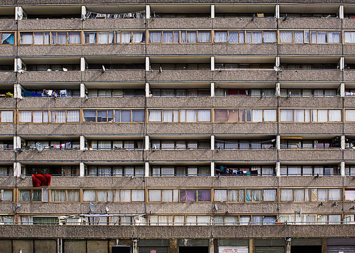 Façade detail of the Aylesbury Estate in the London Borough of Southwark