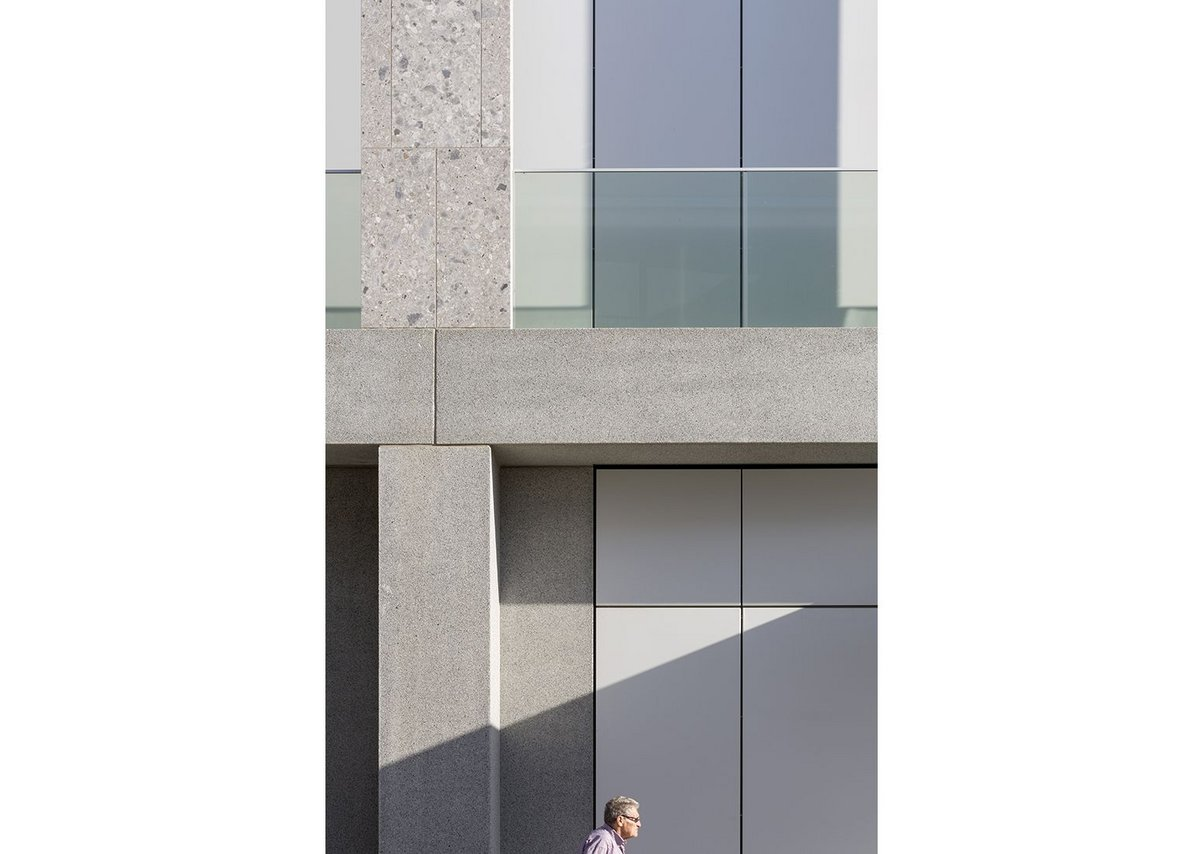 Italian marble and concrete facade close-up: straight lines and clarity