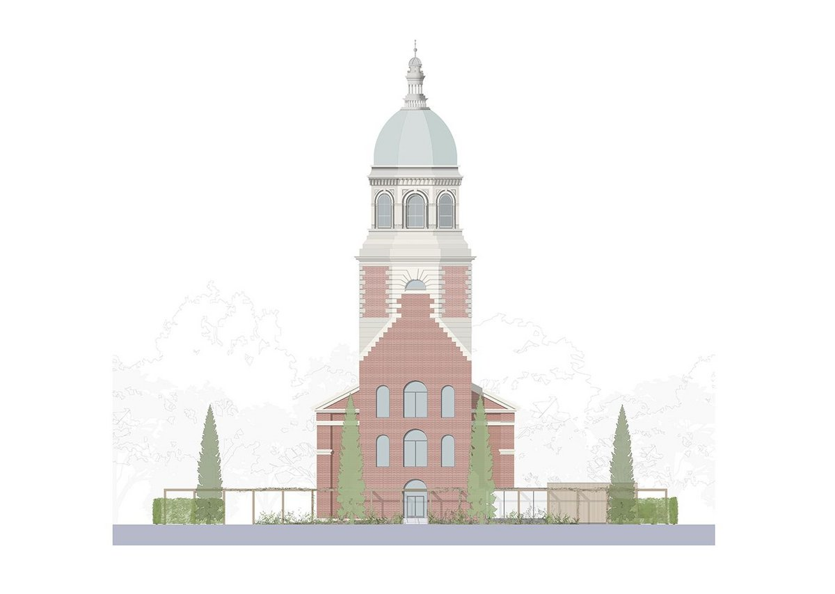 Proposed front elevation of Netley Chapel in Hampshire.