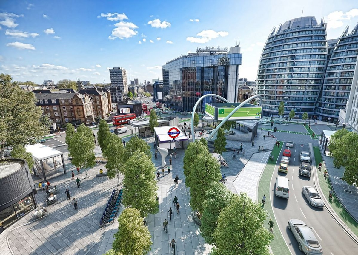We might not be able to improve the architecture but TfL shows how the transport surfaces around Old Street could be improved. TfL Visual Services.