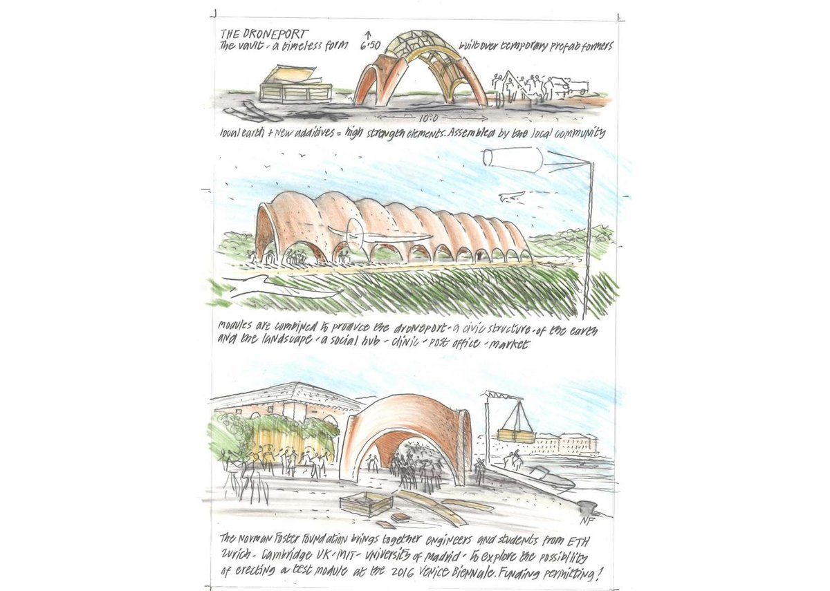 Droneport, a proposal for a prefabricated cargo drone by Lord Foster of Thames Bank.