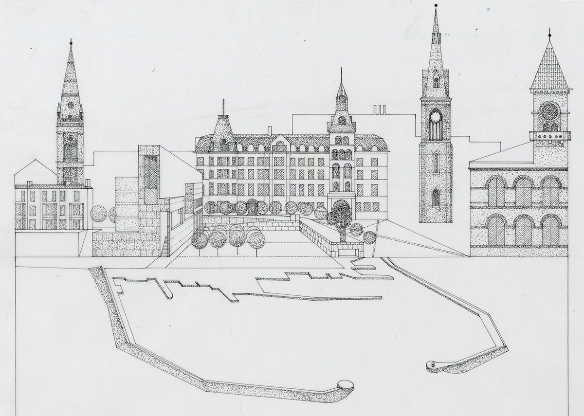 Drawing shows the relationship of the new library and cultural centre to the civic landmarks and harbour of Dun Laoghaire.