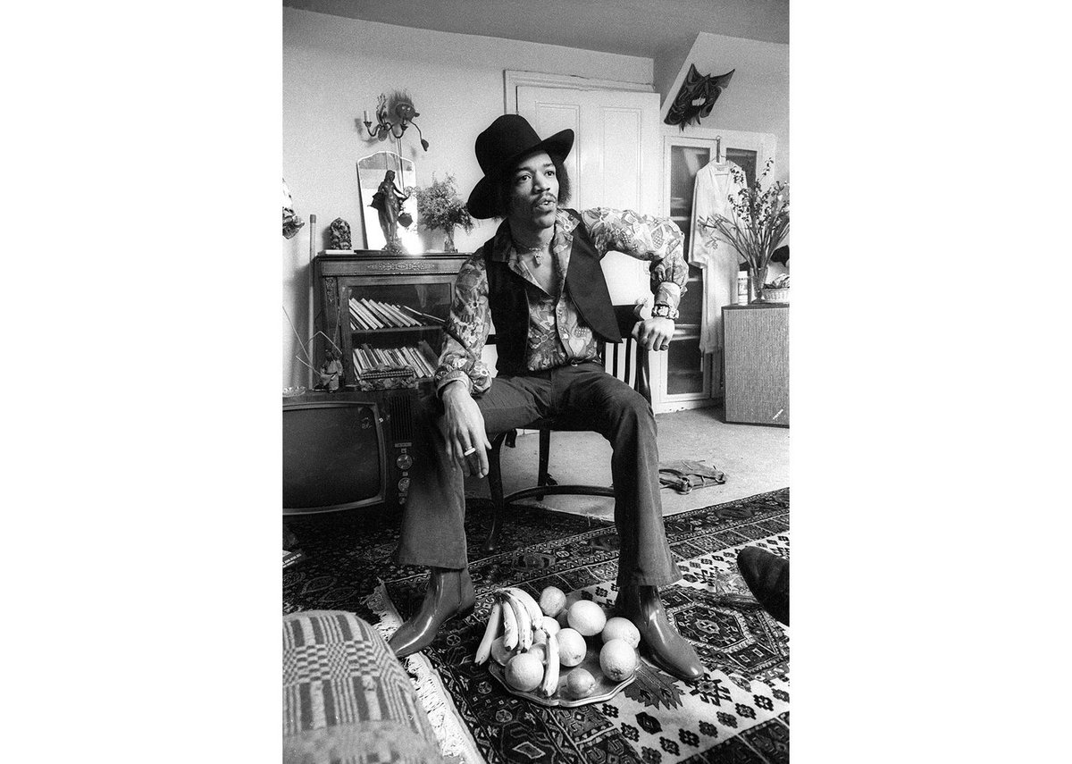 Jimi Hendrix at 23 Brook Street, 1969. Photos and films were used to recreate the bedroom.