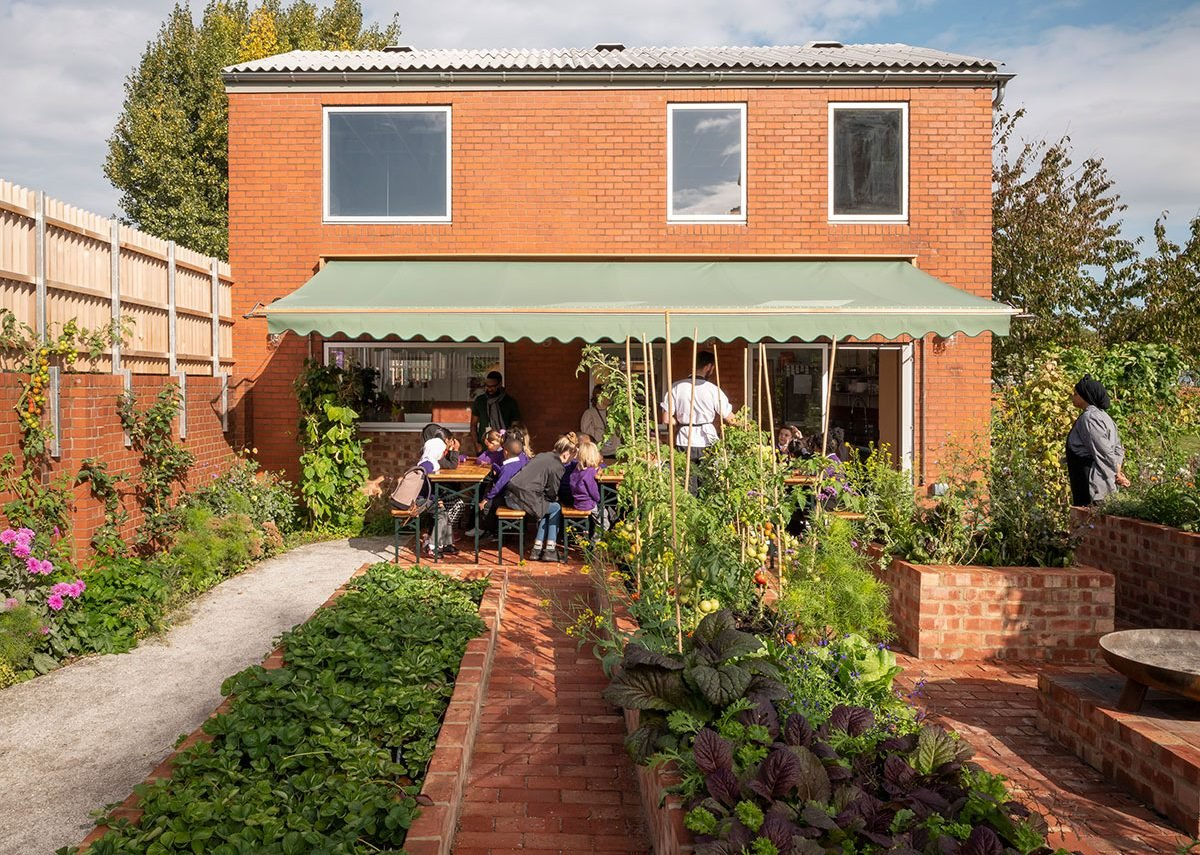 Productive gardens at Hackney School of Food designed by Surman Weston. Children can grow and pick produce and then cook it in the teaching kitchen.