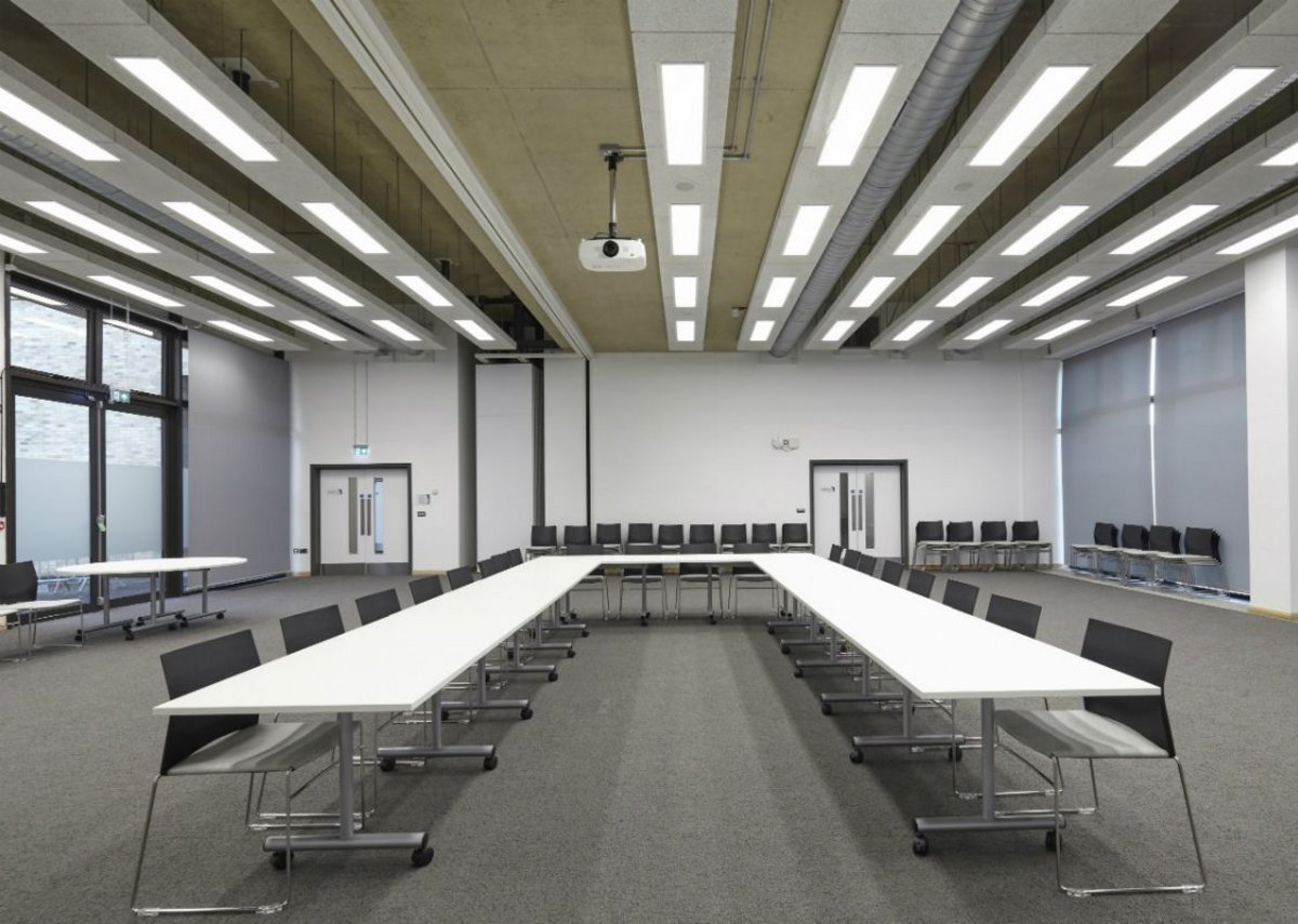 University of Cambridge meeting room with Heradesign ceiling rafts.