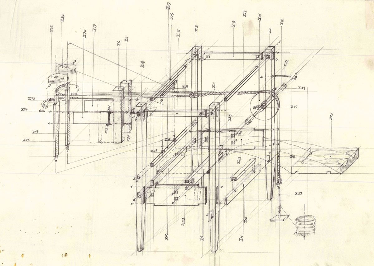 Shin Egashira Beauty of Pain The Duke's Cabinet (technical drawing), 1995.