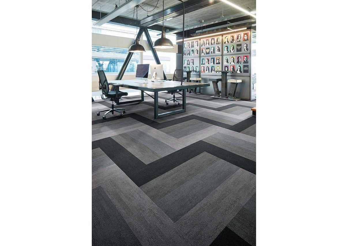 Flotex Colour Penang flocked flooring in Mercury, Zinc, Nimbus and Ash.