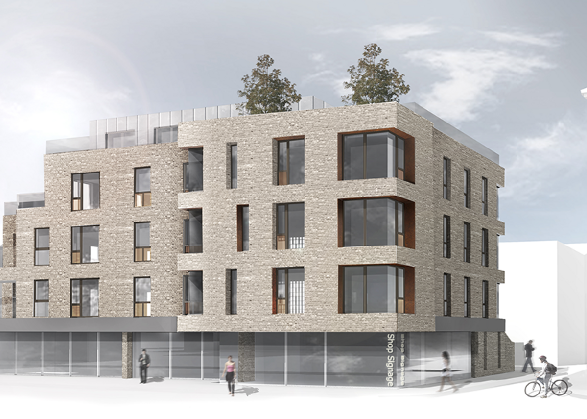 Windsor Road, this mainly residential scheme of 21 town centre flats with contextual brick façade has recently received planning permission, and is currently under review with the developer and consultants regarding options for a low embodied carbon primary structure.