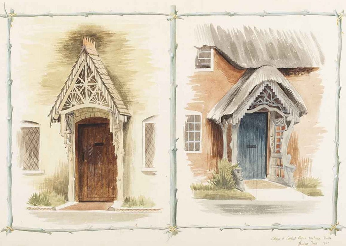 Barbara Jones, Cottages at Canford Magna, Wimbourne, Dorset, 1942. Given by the Pilgrim Trust.