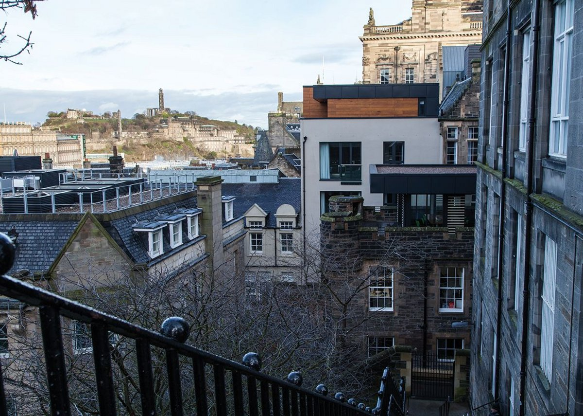 The Advocate's Close development seen from the top of the News Steps, looking east towards Calton Hill.