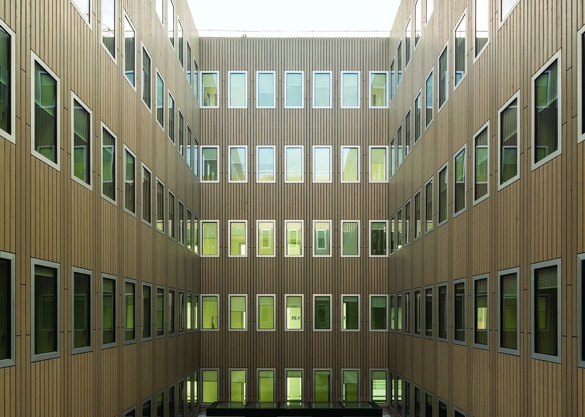 Two central courtyards allow light into study room cells.