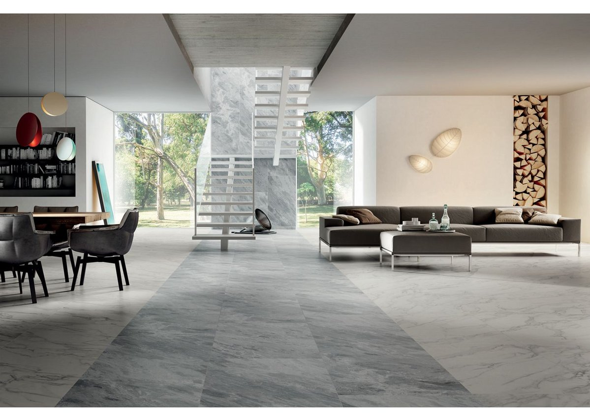 Open living space with Anima Select Bianco Arabesco and Anima Select Grigio Boreale floor tiles