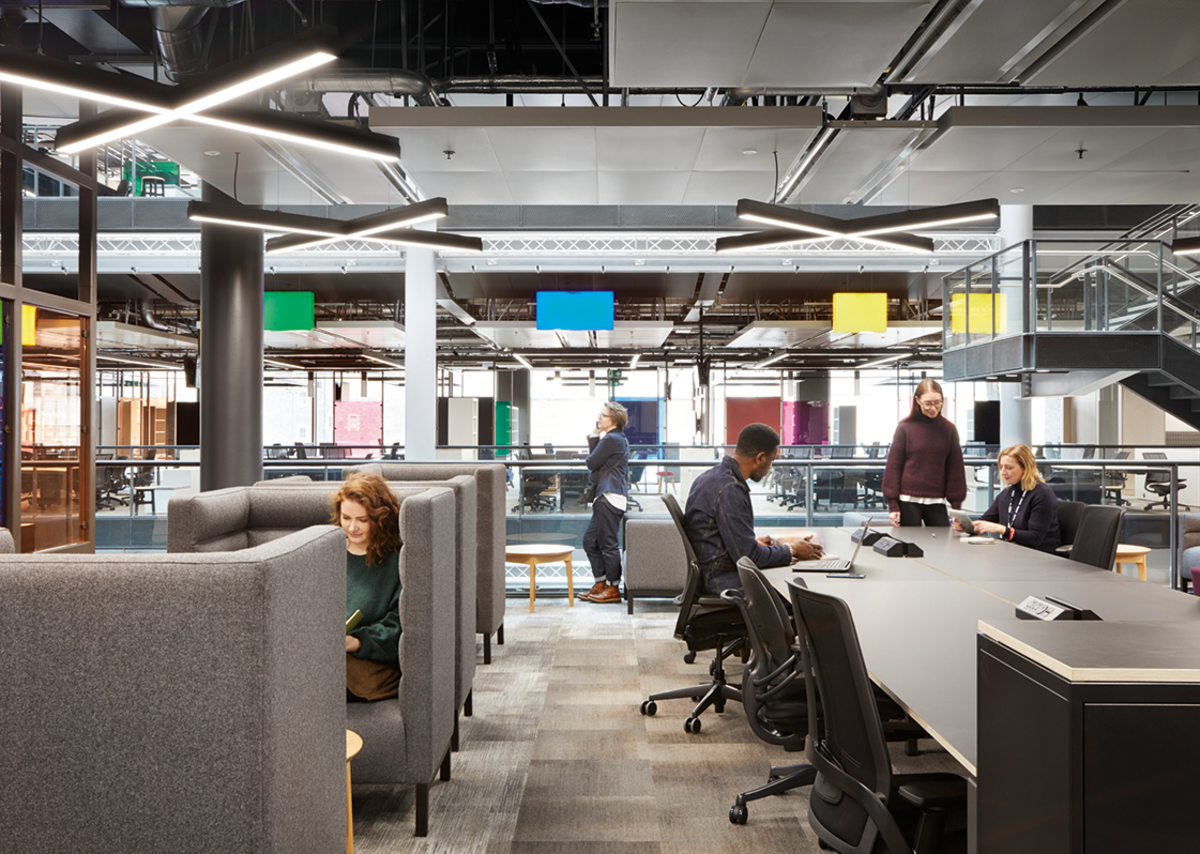 The 50% acoustic requirement for the office ceilings meant services were exposed, helping generate the semi-industrial aesthetic.