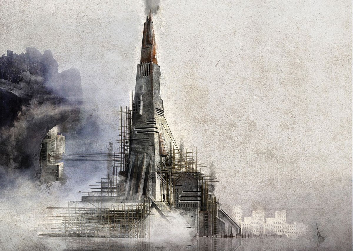 The Last Known City. A reinterpretation of Scolari's visionary drawing depicting a smoking tower as the last known place in the world.