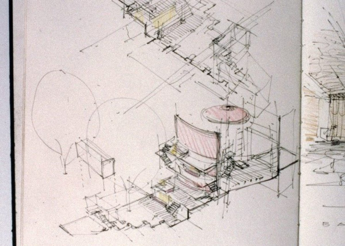Sketch by Steve Tompkins for the remodelling of the Royal Court Theatre.