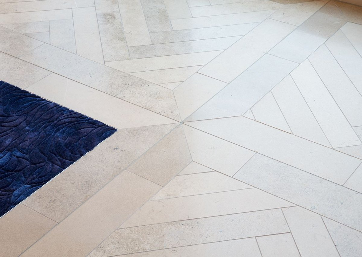 The purbeck honed in a herringbone format.