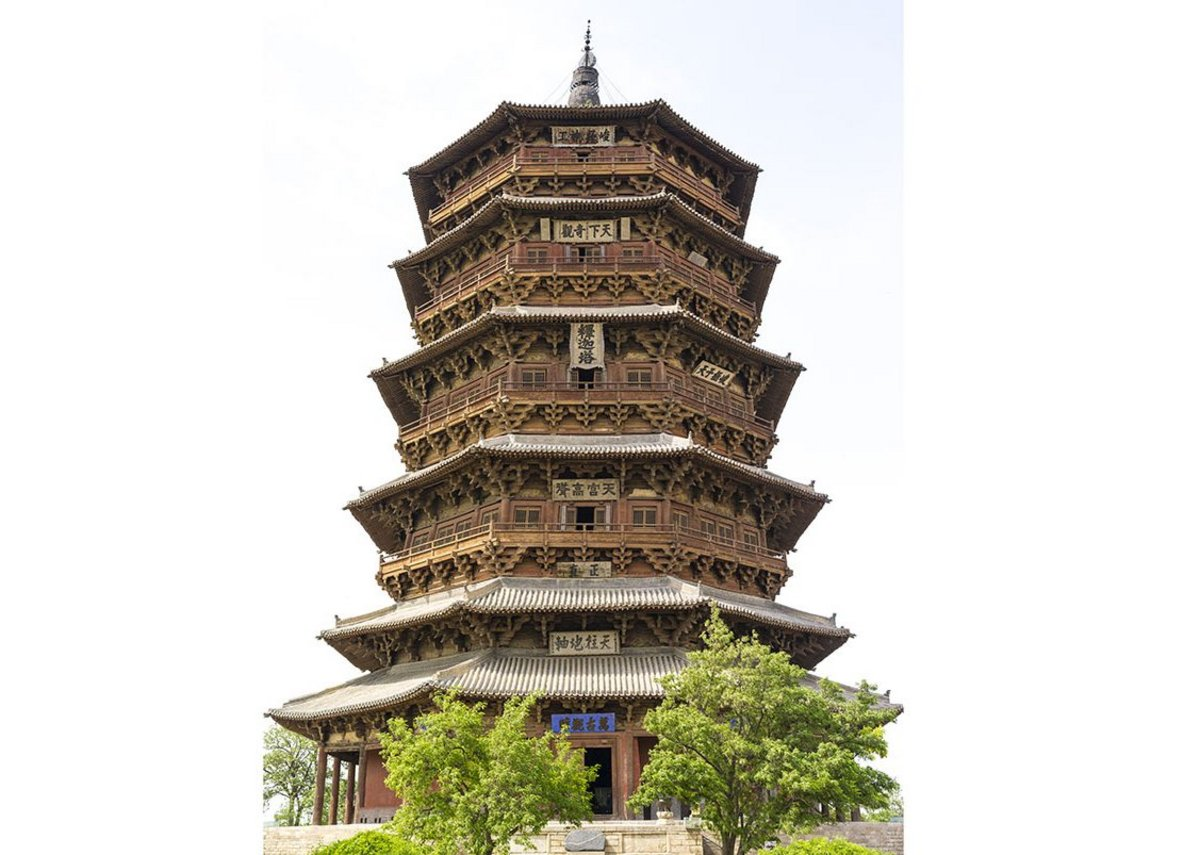 Timber Pagoda (Muta), Fogong Monastery, Ying county, Shanxi province (1056),  •	Timber Pagoda, Fogong Monastery, Yingxian, Shanxi province (1056). The oldest and tallest wooden pagoda in China and a remarkable feat of timber joinery.
