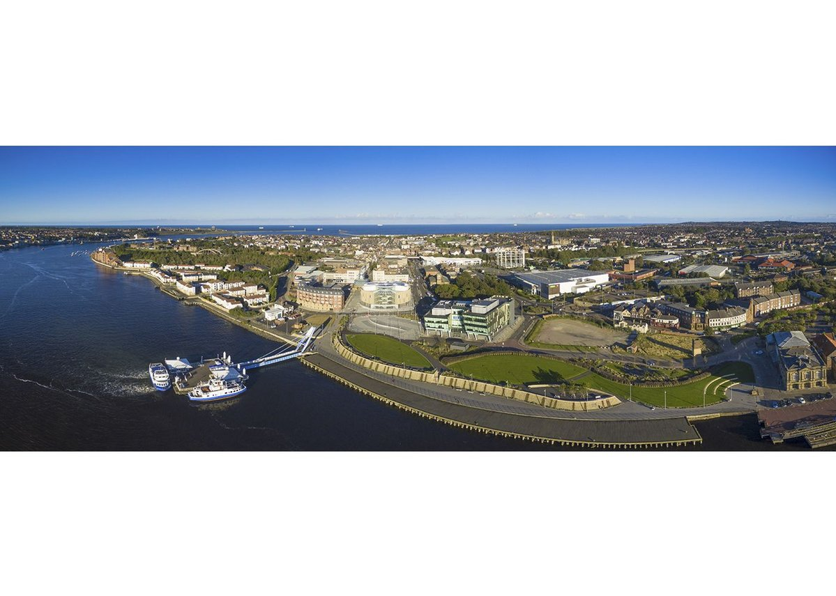 The Word South Shields aerial view showing relationship to River Tyne and sea.