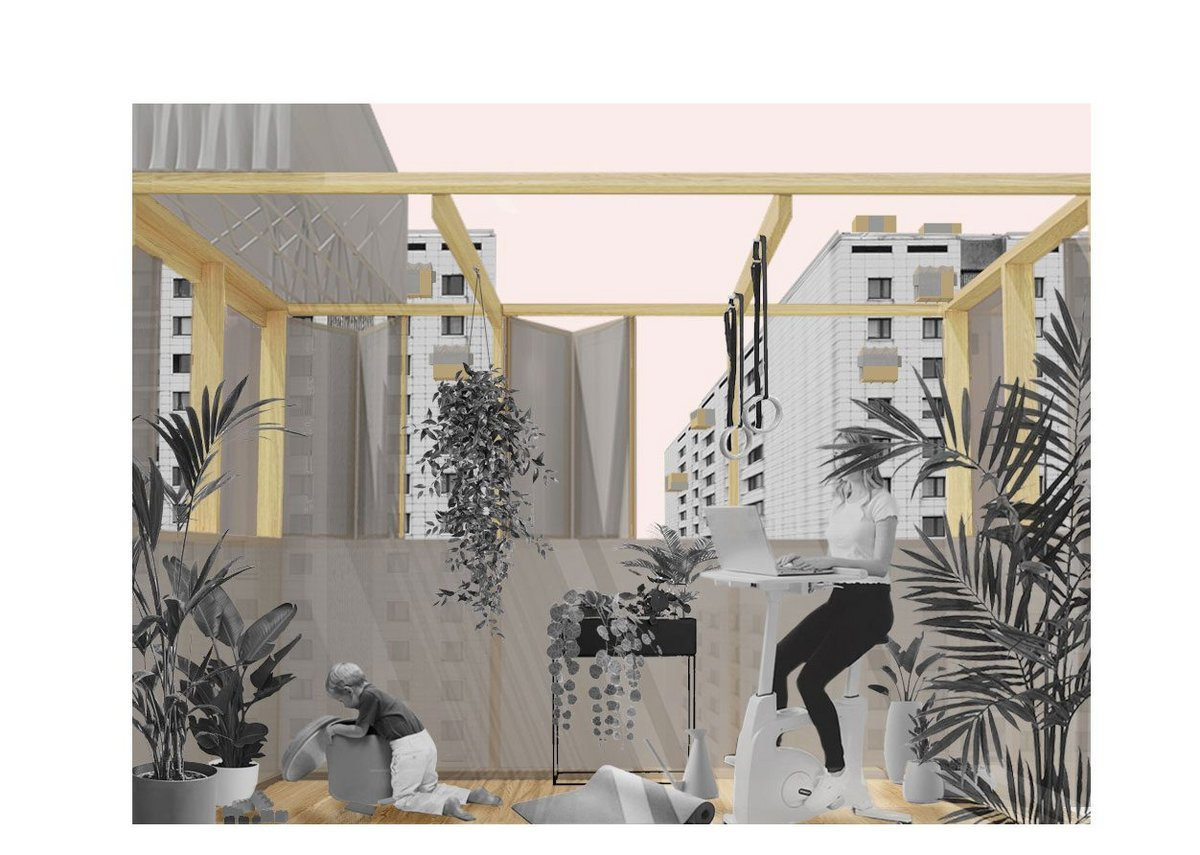 Podding the City: Homes will be places for more activities, for healing, working, learning, flexible and elastic living spaces where we will spend most of our time. Lightweight 'pods' can be attached to extend existing homes. Don't build more. Let's extend. Credit: Pati Santos and Hector Prats-Lopez, The Good Thing