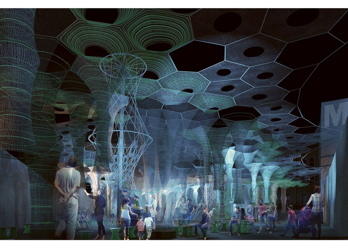 Lumen Night, 2017 (rendering) by Jenny Sabin.