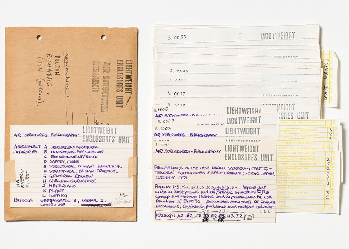 Coded index cards used to assemble the Air Structures Bibliography rating each publication according to its usefulness, c 1972.