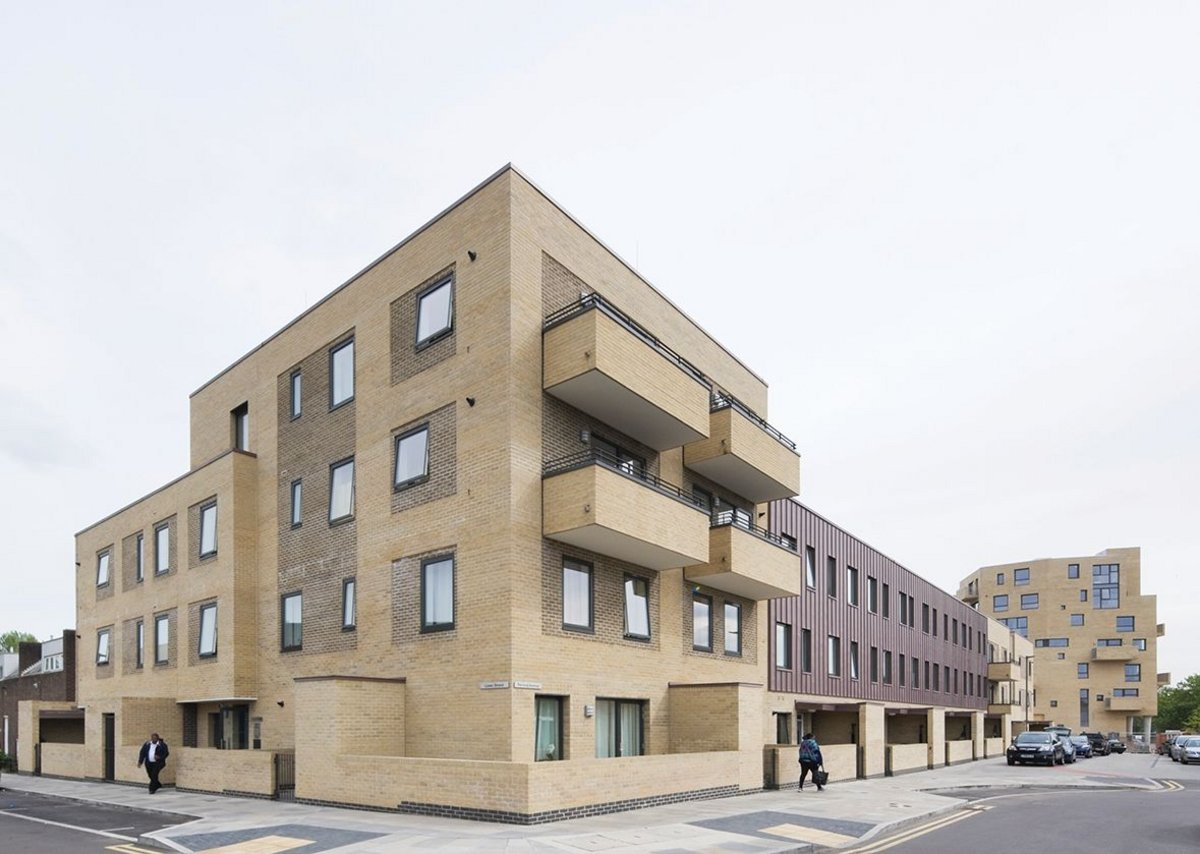 Jestico + Whiles' first phase housing block uses a slightly harder aesthetic than Barber's.