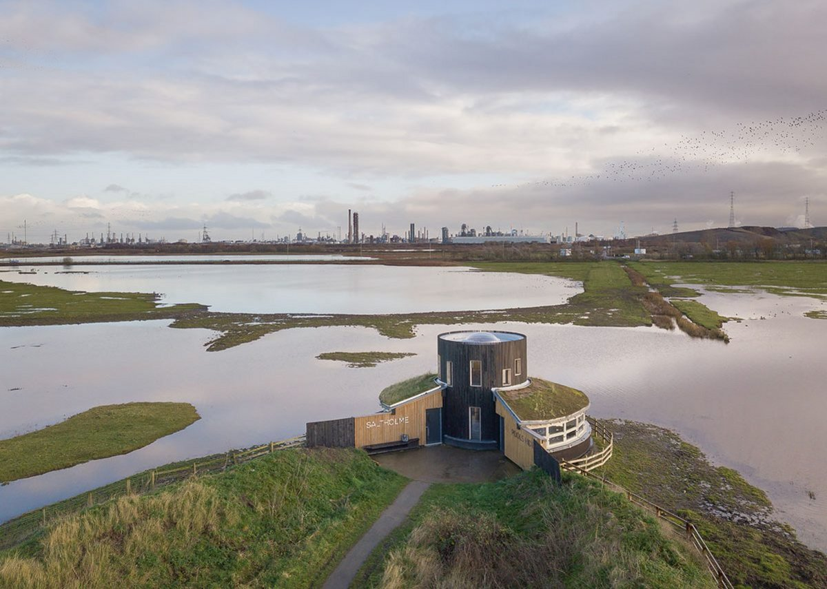 Aerial view of Saltholme Pools bird hide with its panoramic views of the wetlands. Construction was limited to a narrow window to avoid bird breeding seasons.