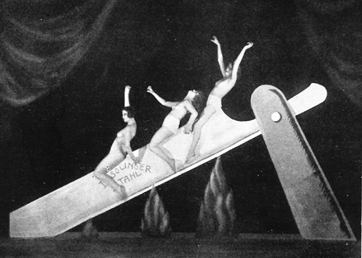 Unknown photographer 'Slide on the Razor', performance as part of the Haller Revue 'Under and Over', Berlin, 1923. Courtesy Feral House.