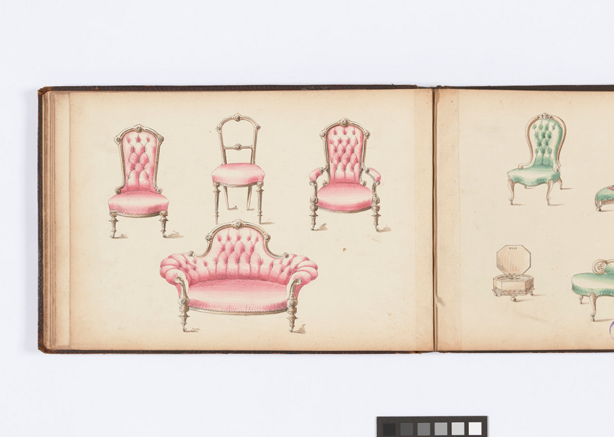 Drawing Room Designs Trade Catalogue c1850s with hand coloured illustrations. Courtesy of the Museum of the Home