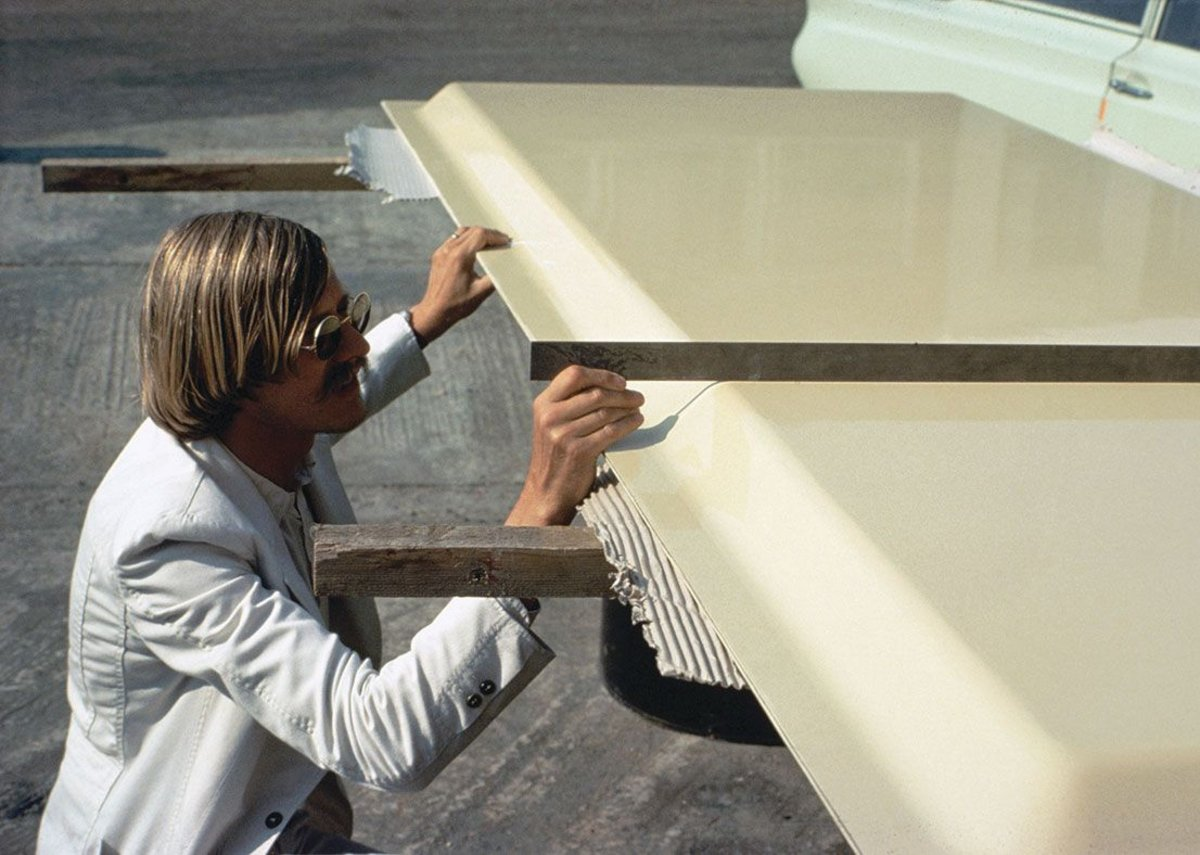 Examining cladding system panels designed for one of the firm's first projects, the Herman Miller Factory in Bath, 1975.