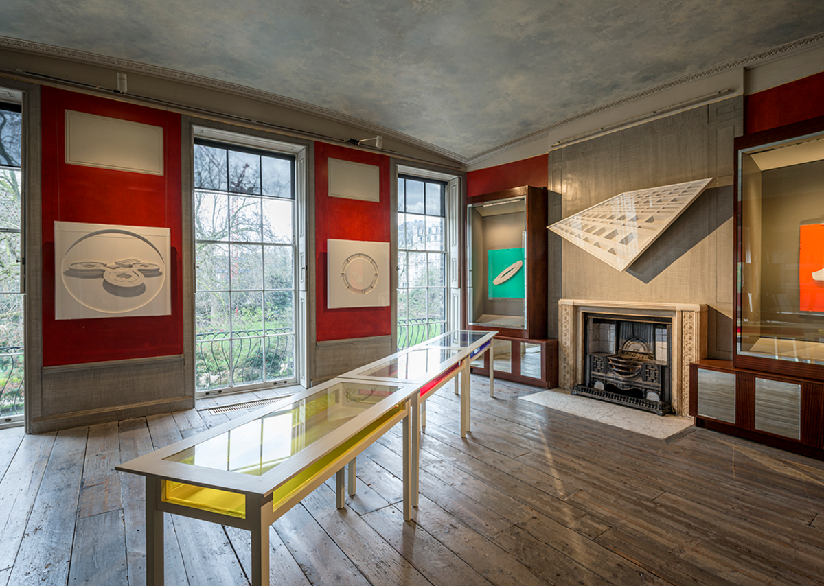 Installation view of the South Exhibition Gallery of Langlands & Bell: Degrees of Truth at Sir John Soane's Museum. Photo by Gareth Gardner. Above the fireplace is Marseille, Cité Radieuse, 2001, Southampton City Art Gallery, Southampton