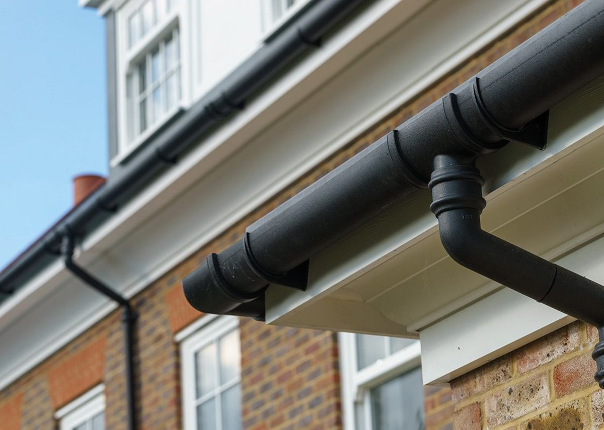 The cast iron style gutters and downpipes are cost-effective in part because they are easier and quicker to install.