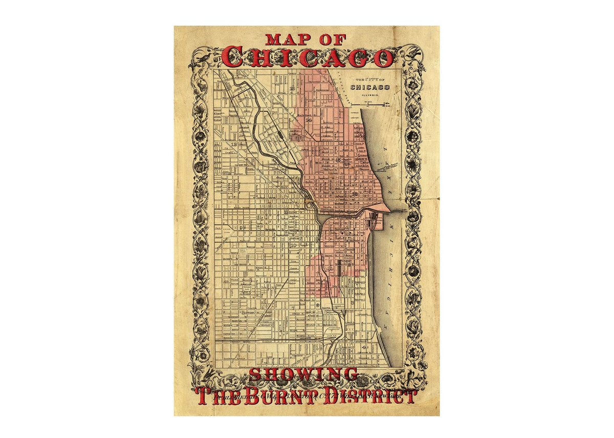 Map of Chicago, Showing the Burnt District, 1871.
